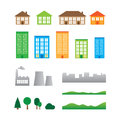 Buildings collection isolated tree landscape works on white background Stock Photos