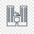 Buildings concept vector linear icon isolated on transparent background, Buildings concept transparency logo in outline style