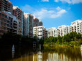 Buildings converged on the river delta one yard built beautiful villas Royalty Free Stock Images