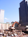 Buildings demolition around high rise buildings building in inner city disasters building demolished building destroyed Royalty Free Stock Photos