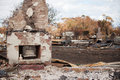 Buildings destroyed by bushfire Royalty Free Stock Photo