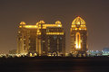 Buildings in Doha at night Royalty Free Stock Photo