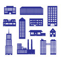 Buildings and houses icon set eps blue Royalty Free Stock Photos