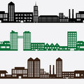 Buildings and houses landscape pattern three rows eps Royalty Free Stock Images