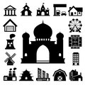Buildings icon set illustration eps Royalty Free Stock Photos
