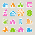 Buildings icon set illustration eps Royalty Free Stock Photography