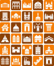 Buildings icons Royalty Free Stock Photos