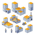 Buildings in the isometric a set of urban and industrial Stock Images