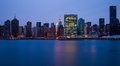 The buildings of manhattan in front of east river at night Royalty Free Stock Photography