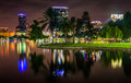 Buildings and palm trees reflecting in Lake Eola at night, Orlan Royalty Free Stock Photo