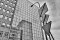 Buildings and signs geometrical shapes in the city center of warsaw Stock Photo