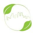 Buildings skyline logo sustainable green design
