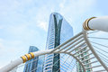 Buildings and skywalk architecture Royalty Free Stock Photo