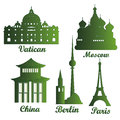 Buildings some green silhouettes of famous around the world Royalty Free Stock Photo