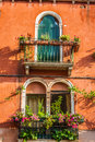 Buildings with traditional Venetian windows in Venice, Italy Royalty Free Stock Photo