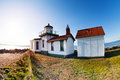 Buildings of West Point Lighthouse at sunny day Royalty Free Stock Photo