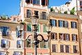 Buildings and windows in Spanish Square, Rome Italy Royalty Free Stock Photo