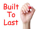 Built to last hand with red marker writing concept isolated on white background Royalty Free Stock Image