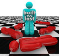 Built to last person standing winner strong determination a or man on a chessboard with the words build among other poeple who Stock Photo