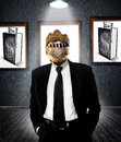 Buisness man in armor a business a black suit with his head front of frames with a book with money sticking out of the pages Royalty Free Stock Photos