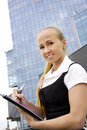 Buisness woman near the modern building. Stock Photography