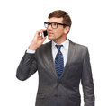 Buisnessman with cell phone business communication modern technology and office concept Stock Image
