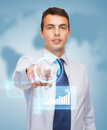 Buisnessman pointing finger to virtual screen business and office people concept friendly young Stock Photo