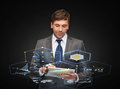 Buisnessman with tablet pc business communication modern technology and office concept Royalty Free Stock Photo