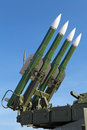 Buk missile system zhukovsky russia aug the anti aircraft sa gadfly at the international aviation and space salon maks Royalty Free Stock Photography