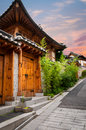 Bukchon hanok village the traditional korean architecture of in seoul south korea Stock Photo