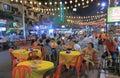 Bukit bintang outdoor dining in kuala lumpur people dine on jalan alor malaysia Royalty Free Stock Photo