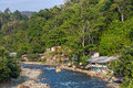 Bukit lawang village sumatra jungle forest landscape with river Royalty Free Stock Images