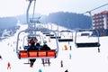 Bukovel podemnik over long ski run Royalty Free Stock Images