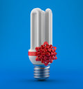 Bulb with a bow gift Stock Photo