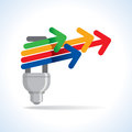 Bulb and colorful arrow, idea concept Royalty Free Stock Photo