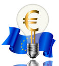 Bulb with euro sign light bulbs and flag on white background Stock Photos