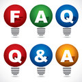 Bulb faq q text stock Stock Photography