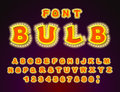 Bulb font. Glowing letters. Retro Alphabet with lamps. ABC point