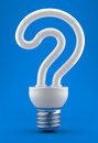 Bulb in the form of a question mark Stock Images