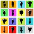 Bulb icons light vector Fotografering för Bildbyråer