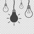 Bulb idea flat vector illustration