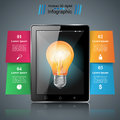 Bulb infographic. tablet icon.