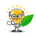 Bulb lamp cartoon showing green leaf eco concept on the