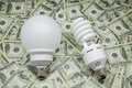 Bulbs of low consumption on dollars Stock Photography