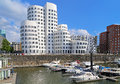 Buldings of Neuer Zollhof in the Media Harbor of Dusseldorf Royalty Free Stock Photo