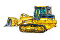 Buldozer illustration color art i am a traditional artist this is a handmade drawing on paper i use pencil for this the is added Stock Images