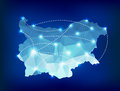 Bulgaria country map polygonal with spot lights pl places sample Stock Photos