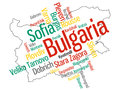 Bulgaria map and cities of text design with major Royalty Free Stock Images
