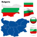 Bulgaria set detailed country shape with region borders flags and icons isolated on white background Royalty Free Stock Photos