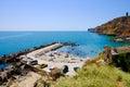 Bulgarian beach Bolata bay near Cape Kaliakra at the Black Sea. Royalty Free Stock Photo